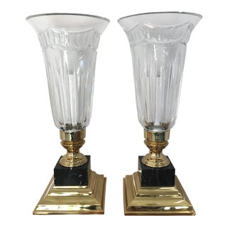 Waterford Crystal Hurricane Lamps - a Pair