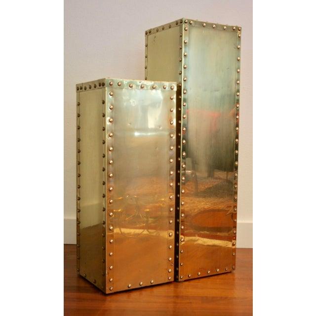 Sarreid-Style Brass Studded Pedestal (Smaller Pedestal Only) - Image 4 of 11