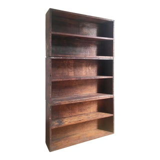 Rustic Solid Mahogany Shipping Container Bookcase For Sale