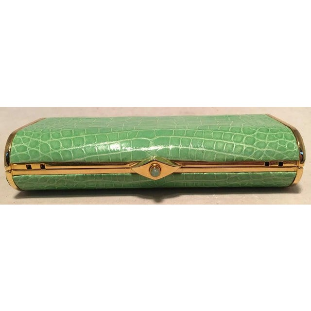 Judith Leiber Judith Leiber Vintage Mini Green Alligator Clutch Minaudiere For Sale - Image 4 of 9