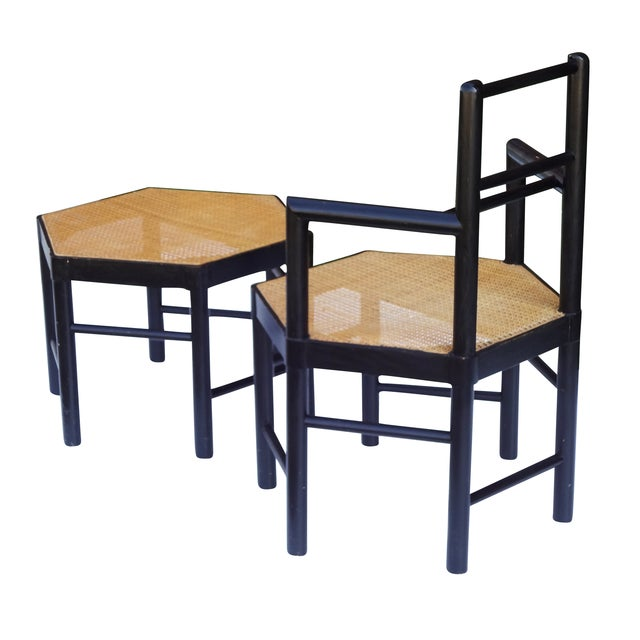 Brown Josef Hoffmann Style Hexagonal Chair & Ottoman Set For Sale - Image 8 of 10
