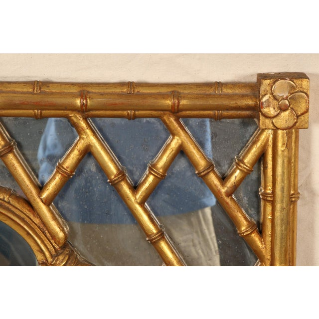 Mid 20th Century Faux Bamboo Carved and Gilt Mirror For Sale - Image 5 of 7