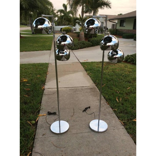 Silver Koch & Lowy Chrome Ball Floor Lamps - A Pair For Sale - Image 8 of 11