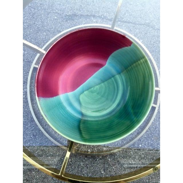 Large Jewel-Tone Glazed Bowl - Image 4 of 5