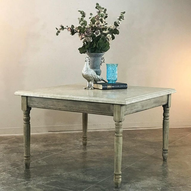19th Century French Rustic Limestone Top Game Table - Center Table For Sale - Image 11 of 12