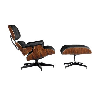 Herman Miller Eames Black Leather Palisander Lounge Chair and Ottoman