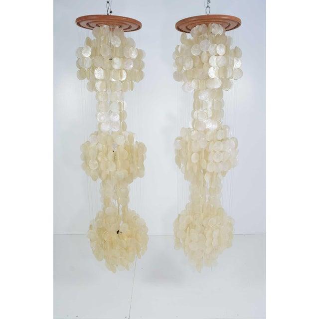 Excellent pair of very large verner panton capiz shell chandeliers pair of very large verner panton capiz shell chandeliers 65 tall image 6 aloadofball Gallery