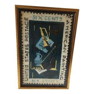 Vintage Framed Needlepoint Postage Stamp For Sale