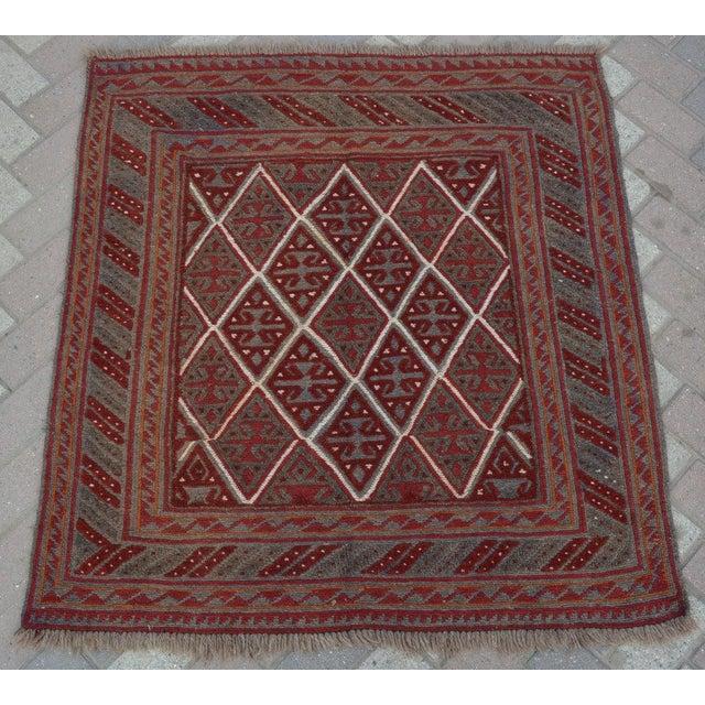 "Vintage Tribal Turkish Kilim Rug - 3'9"" x 4' For Sale - Image 5 of 5"