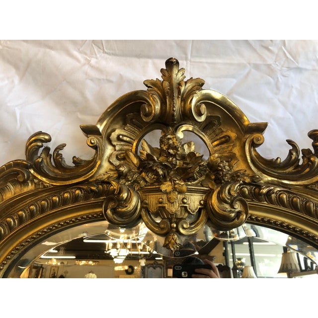 French 19th Century Antique French Louis XV Gilt Mirror For Sale - Image 3 of 10