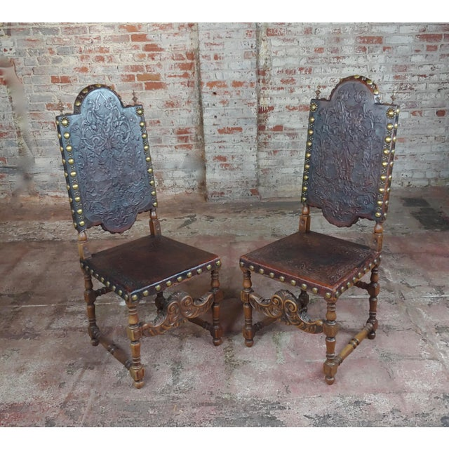 19th Century Portuguese Side Chairs Embossed Leather -A Pair For Sale - Image 10 of 10
