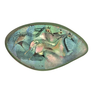 Byzantine Pillin Art Pottery Footed Tray of 3 Horses For Sale