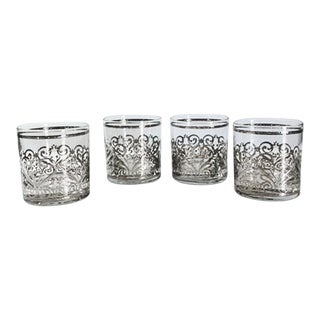 Vintage Culver Cuv61 Silver Scroll Low Ball Glasses - Set of 4