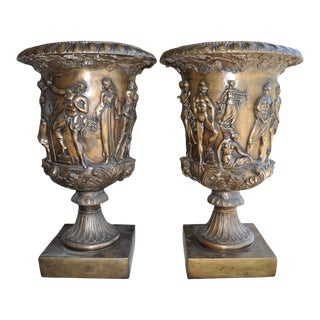 Medici and Borghese Style Patinated Bronze Urn Planter Vase With Relief Decorations - a Pair For Sale