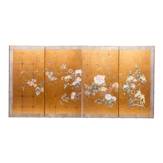 """1990s Lawrence & Scott Japanese Style """"Summer Garden"""" Four-Panel Gold Foil Original Painting Hanging Screen For Sale"""