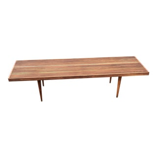 "Mel Smilow Walnut Long Slat Bench Coffee Table 60"" Wide Mid Century Modern Brooklyn For Sale"