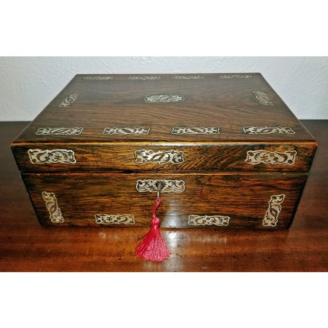 19c British Rosewood and Mop Inlaid Dressing Table Box For Sale - Image 13 of 13