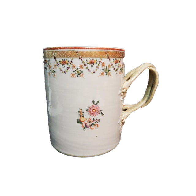 18th C Chinese ExportPorcelain Tankard Mug For Sale - Image 4 of 7