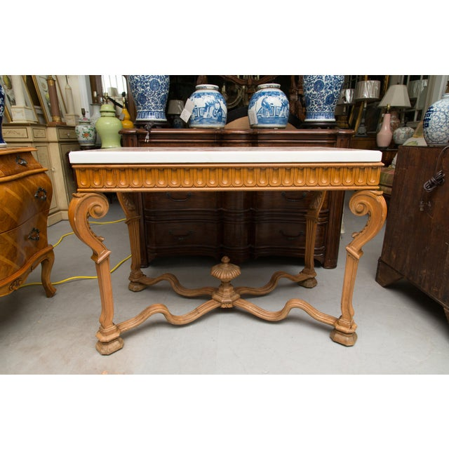 Mid 20th Century Italian Beechwood Console / Center Table With Marble Top For Sale - Image 5 of 13