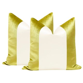 "22"" Chartreuse Velvet & Alabaster Silk Panel Pillows - a Pair For Sale"