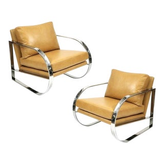 Chrome Lounge Chairs Designed by John Mascheroni for Swaim Originals - A Pair For Sale