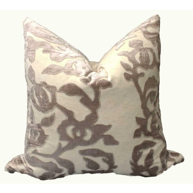 Contemporary Linen Pillows With Velvet - a Pair - Image 4 of 7