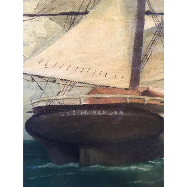 Vintage American Sailboat Painting - Image 6 of 8