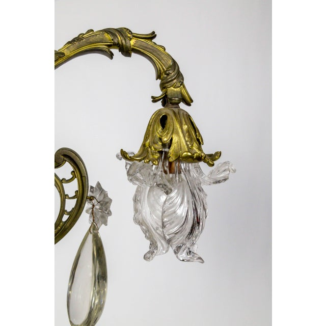 Bronze Belle Epoch Glass Flower and Smooth Almond Crystal Chandelier For Sale - Image 4 of 11