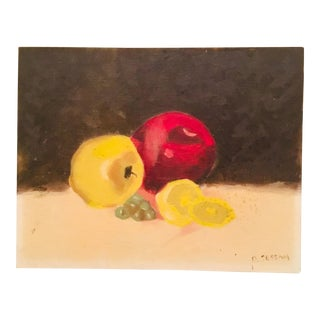 1950s Vintage Fruit Still Life Canvas Panel Painting For Sale