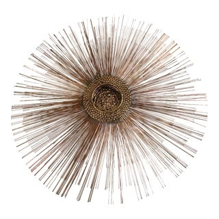 Mid-Century Brutalist Copper Sunburst Wall Sculpture For Sale