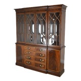 Image of Ethan Allen Georgian Style Flame Mahogany Banded Breakfront China Cabinet For Sale
