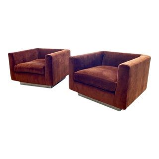 Rust Velvet Rounded Arm Chairs - a Pair For Sale