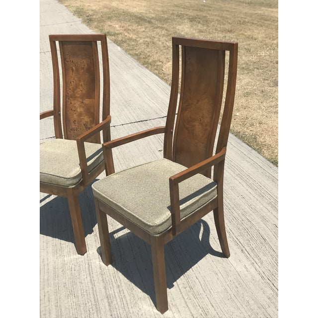 Art Deco Vintage Thomasville Burled Wood Highback Arm Chairs - a Pair For Sale - Image 3 of 6