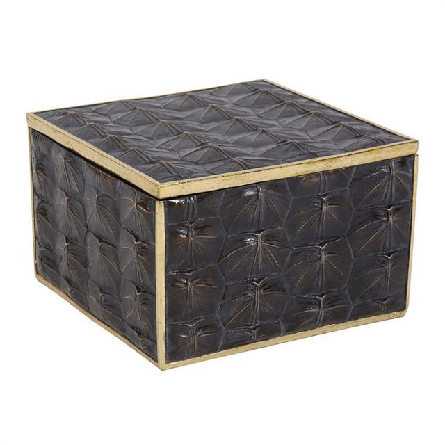 Modern Faux Tortoise Shell Textured Box - Large For Sale - Image 3 of 7