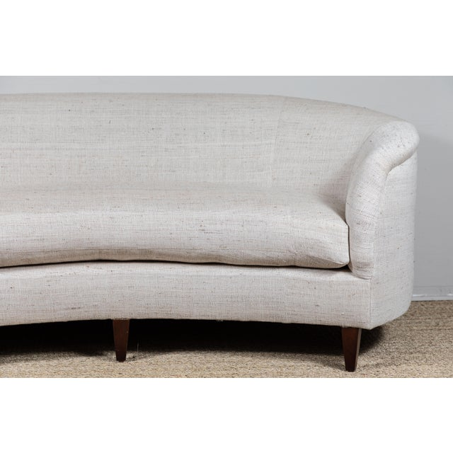 Contemporary Vintage Curved Sofa With Pat McGann Workshop Upholstery Fabric For Sale - Image 3 of 11
