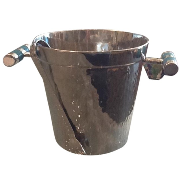 Vivo Hammered Ice Bucket with Stingray Handles For Sale