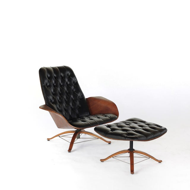 Mid Century Modern George Mulhauser for Plycraft Early Mr Chair Lounge Chair & Ottoman For Sale - Image 11 of 11