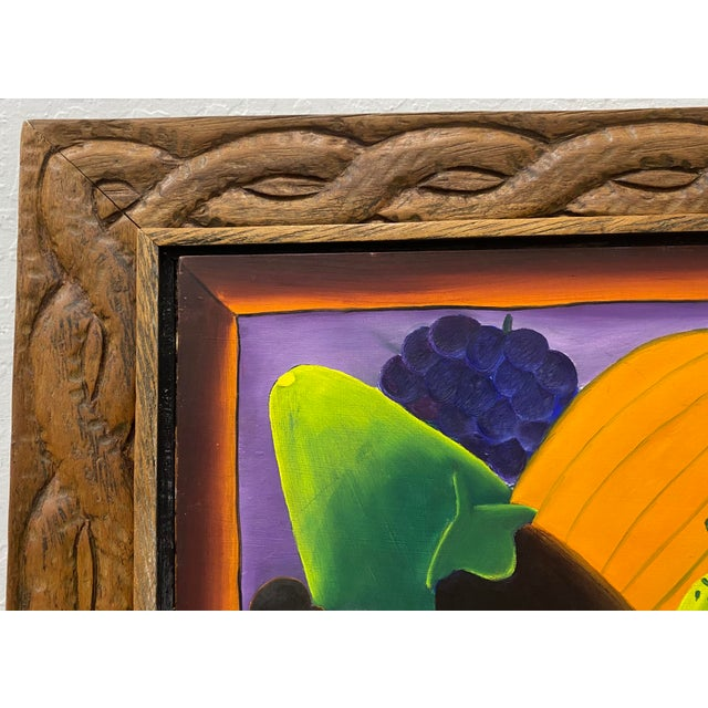 """Impressionist Haitian Artist Alberoi Bazile """"Fruit"""" Still Life Oil Painting in Hand Carved Frame C.1970 For Sale - Image 3 of 13"""