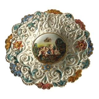 Putti in Landscape Motif Capodimonte Footed Dish