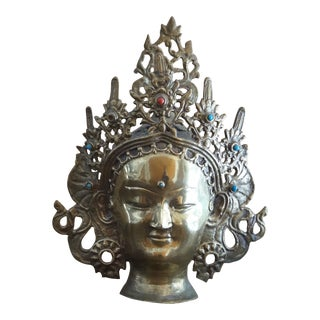 1960s Vintage Inlaid Brass Buddha Head For Sale