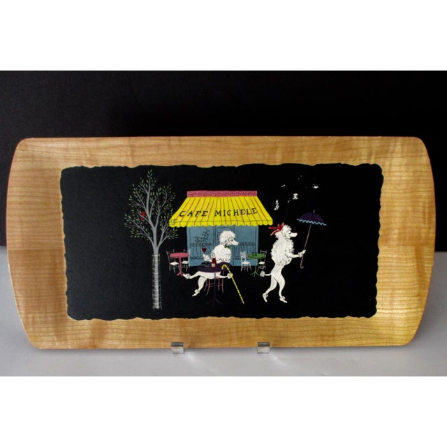 French Serving Tray - Set of 4 Poodles Dogs French Poodle Fifi and Pepe For Sale - Image 4 of 9