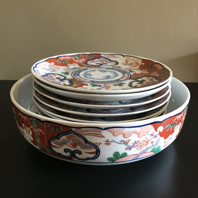 Mid-Century Georges Briard Chinoiserie Serving Bowl and Plates - Set of 9 For Sale - Image 9 of 9
