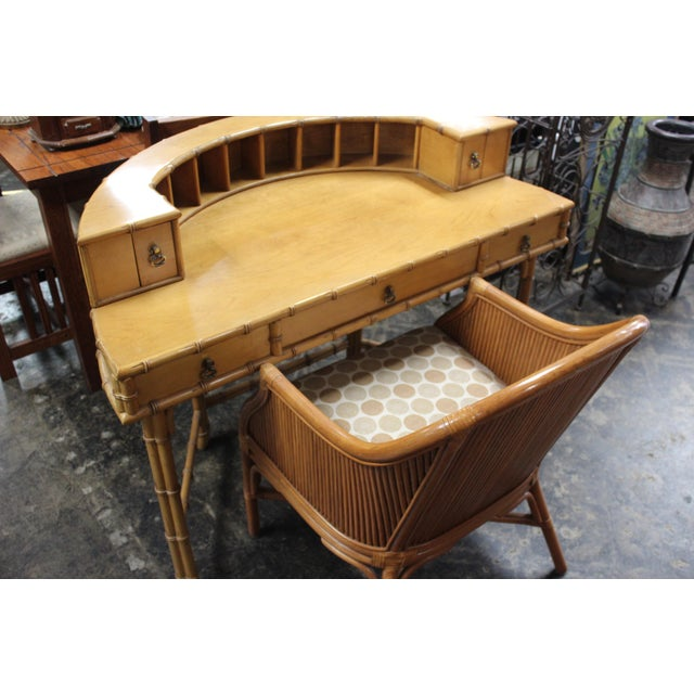Tan Ficks Reed Writing Desk & Chair - a Pair For Sale - Image 8 of 11