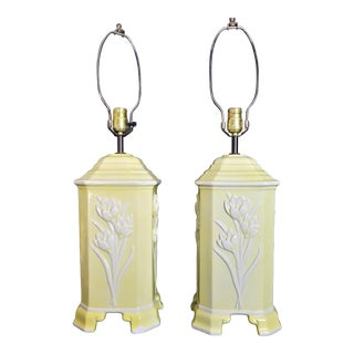1975 Chapman Ceramic Footed Raised Embossed Tulips Asian Style Table Lamps - a Pair For Sale