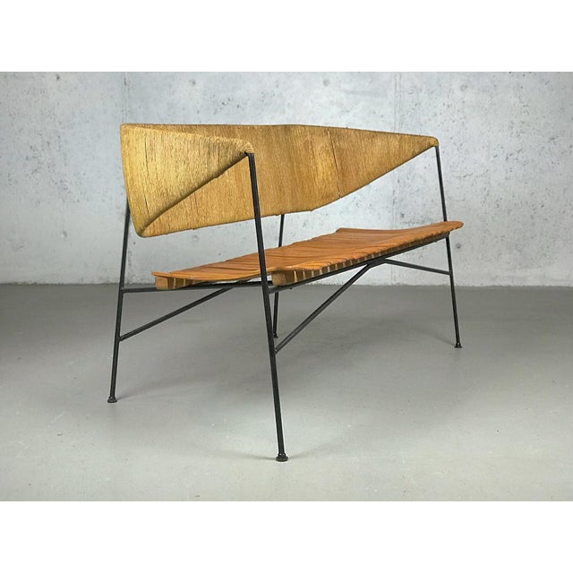 Mid-Century Modern Modernist Settee by Arthur Umanoff for Shaver Howard & Raymor Loveseat Bench Sofa Couch For Sale - Image 3 of 13
