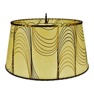 Mid Century Fiberglass Lampshade With Brass Trim For Sale