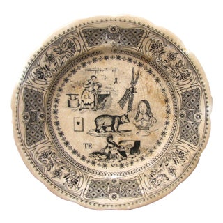 Vintage French Rebus Transferware Plate For Sale