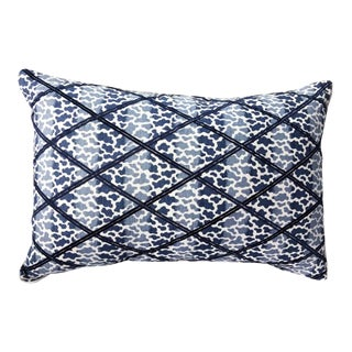 Navy Blue Embroidered Down Feather Lumbar Pillow For Sale