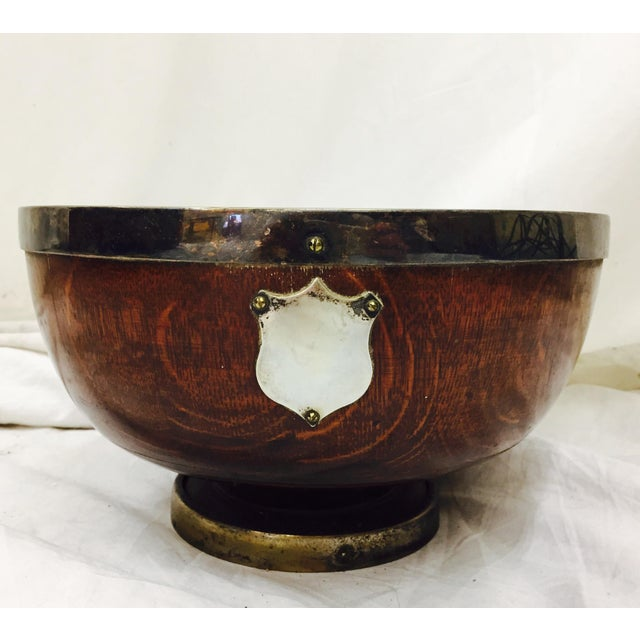 Antique English Oak Mont. Bowl - Image 8 of 8