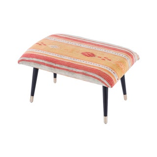 Pasargad Home Bosphorus Collection Orange Kilim Cover Ottoman For Sale